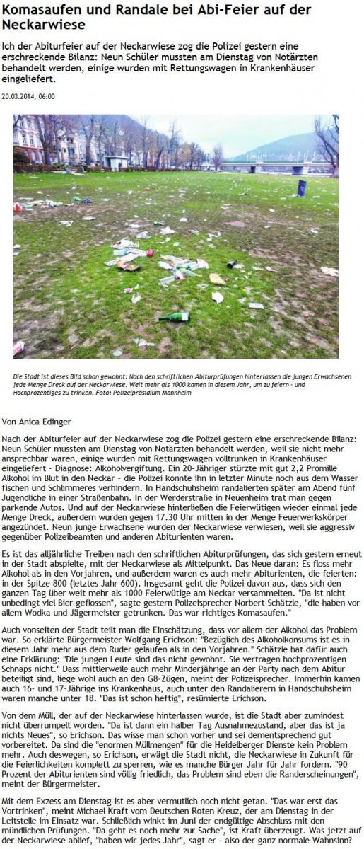 RNZ-Artikel vom 20. März 2014